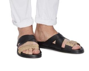 △ Casablanca 1942 'Yako' Raffia Panel Cross Band Leather Sandals  US$340 (~HK$2668)