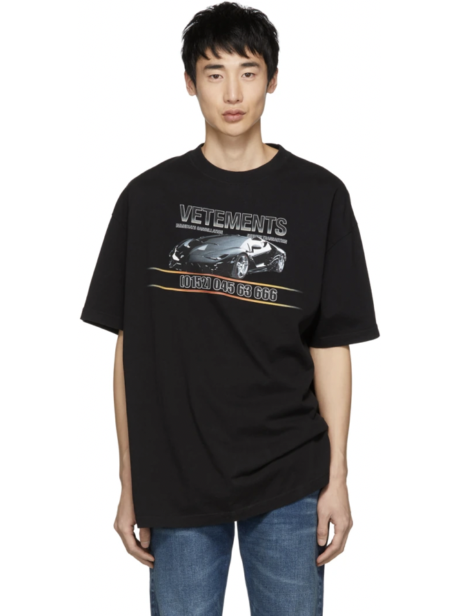 △ Vetements Black Car Hotline T-Shirt  US$322 (~HK$2,511)