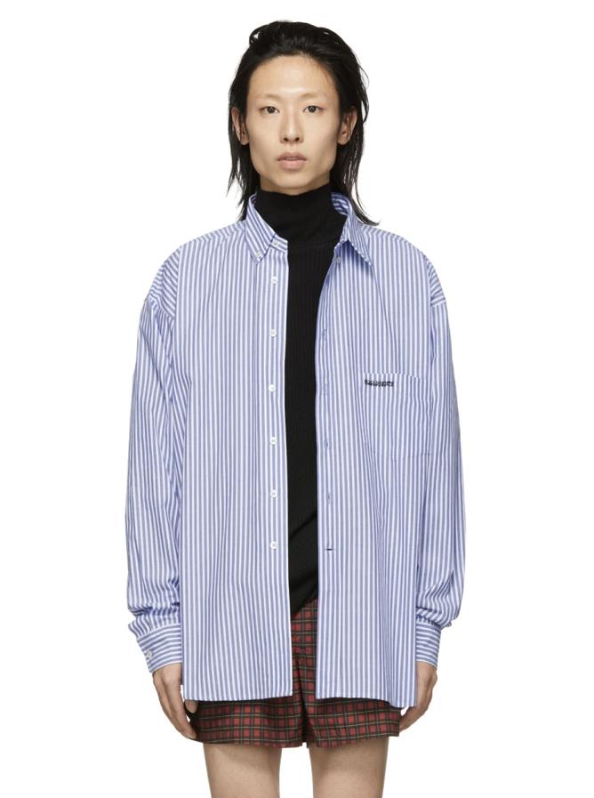 △ Vetements Blue & White Stripe Metal Ring Shirt  US$459 (HK$3,580)