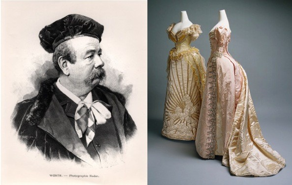 A portrait of Charles Frederick Worth, and two gowns from his collections in the late 19th century. Photos via AllPosters.com and MetMuseum.org. Credit to  Zimbio .