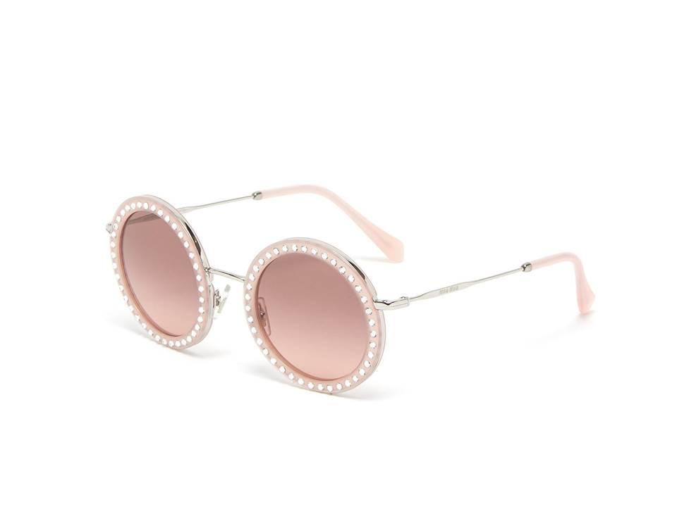 △ MIU MIU Strass Acetate Rim Metal Round Sunglasses  US$405 (~HK$3,166)