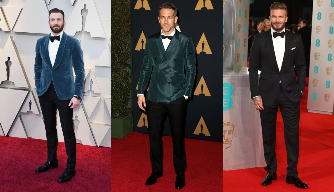 △ From left to right: Chris Evens, Ryan Reynolds, David Beckham; credit to deavita, fashionbeans, ahume