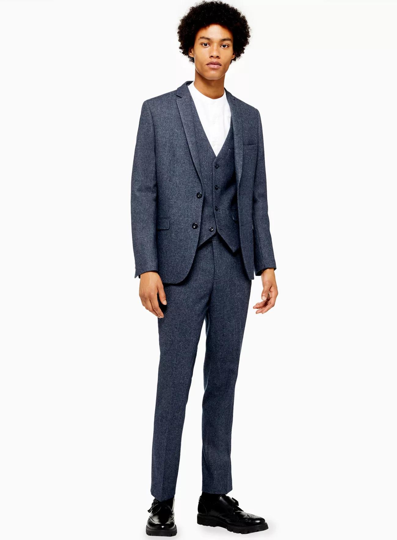 △ TOPMAN 3 Piece Blue Textured Slim Fit Suit With Notch Lapels  GB£95 (~HK$903)