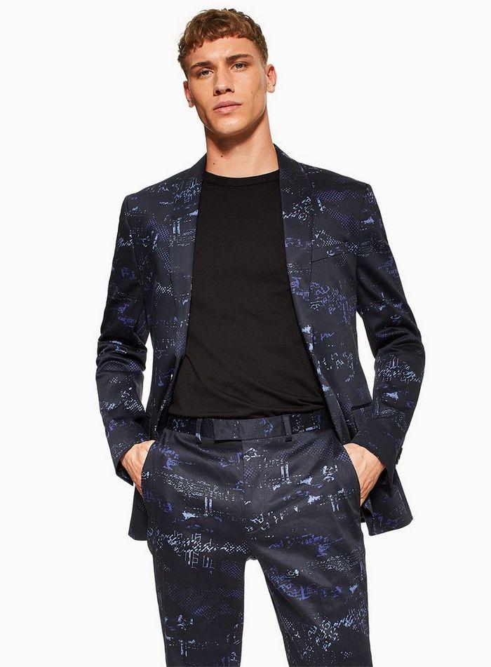 △ TOPMAN 2 Piece Navy Digital Print Skinny Fit Suit With Shawl Lapel  GB£25 (~HK$237)