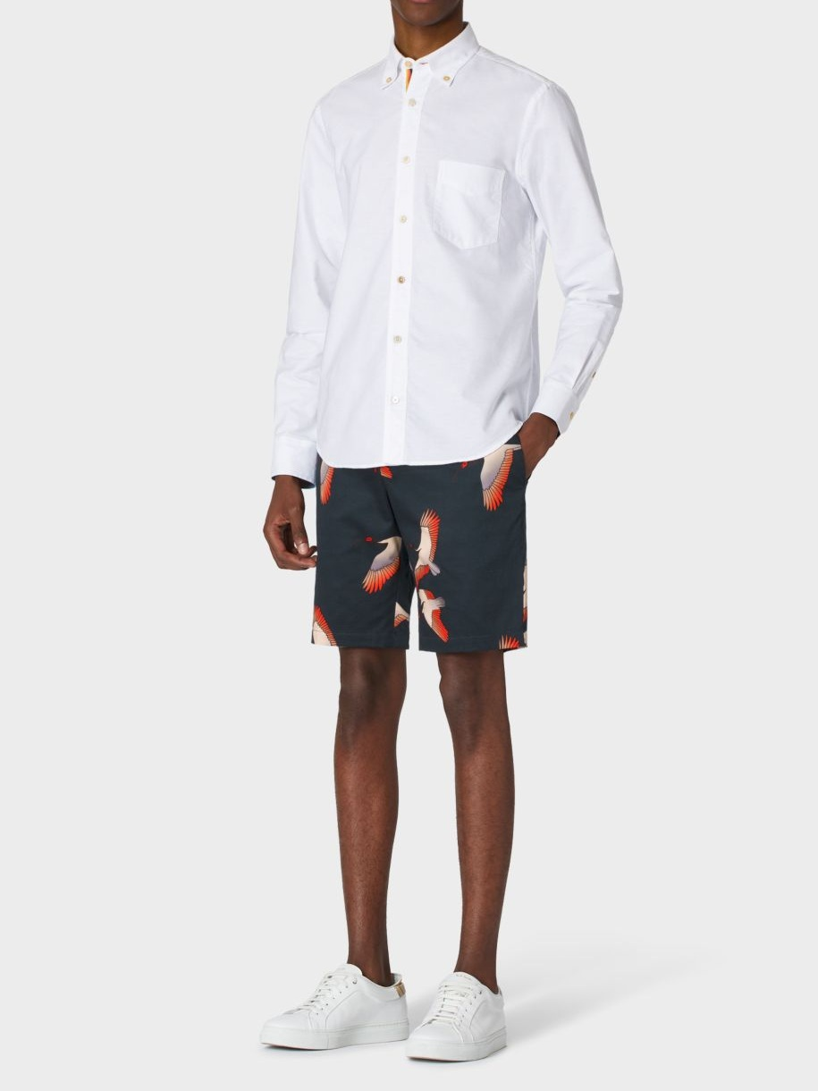 △ Paul Smith Men's Slim-Fit Navy 'Bird' Print Shorts  GB£270 (~HK$2,572)