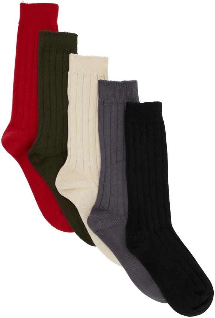 △ Juun.J Five-Pack Multicolor Rib Socks  HK$820