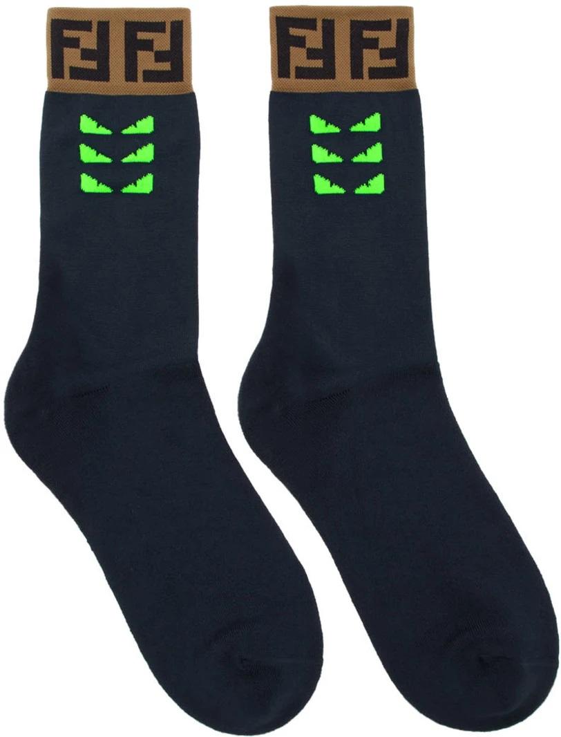 △ Fendi Navy & Green Bag Bugs Socks  HK$880