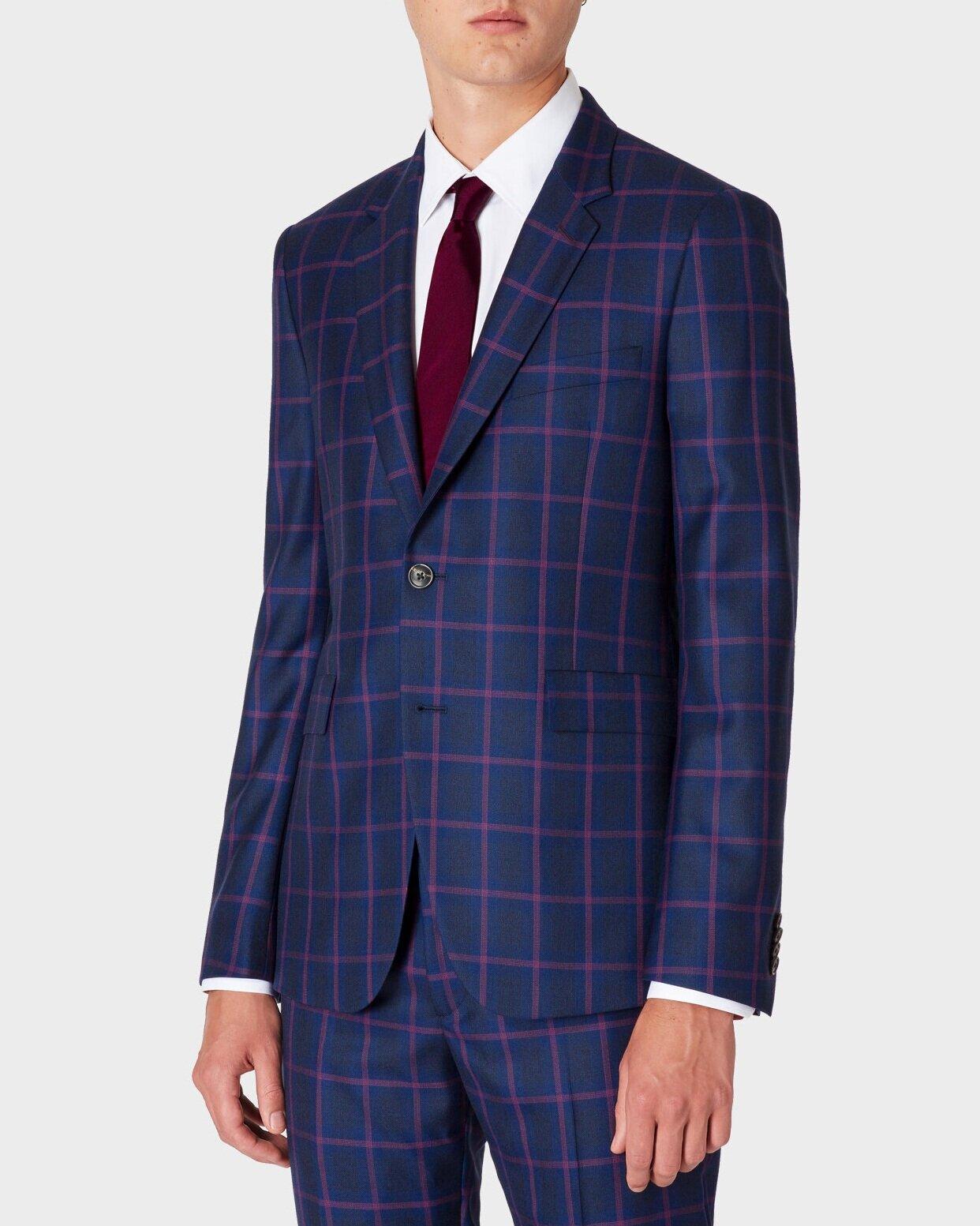 △ Paul Smith The Kensington - Men's Slim-Fit Navy Ombre-Windowpane Check Suit  £1,055.00 (~HK$10,260)