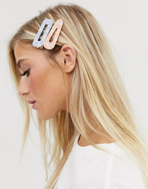 ASOS DESIGN Pack of 4 Hair Clips in Pink and Blue Pastel  HK$85