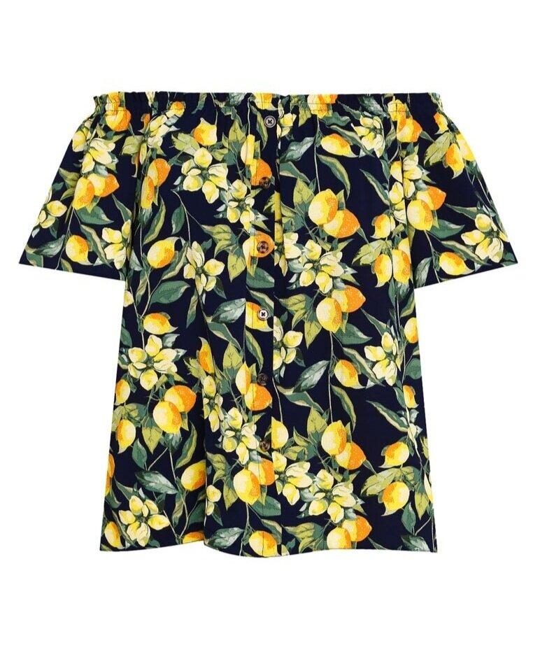 Dorothy Perkins Dp Plus Size Navy Lemon Print Bardot  HK$199