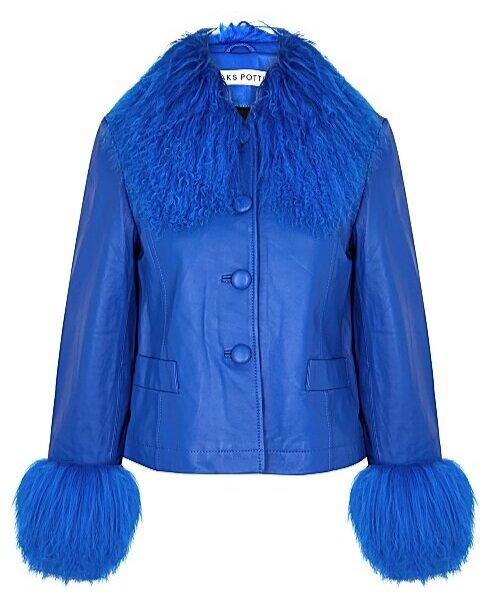 Saks Potts Dorthe Blue Shearling-Trimmed Leather Jacket  HK$6,440