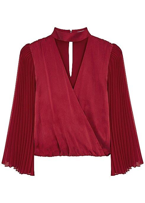 Alice + Olivia Luba Red Wrap-Effect Stretch-Silk Blouse  HK$2,420