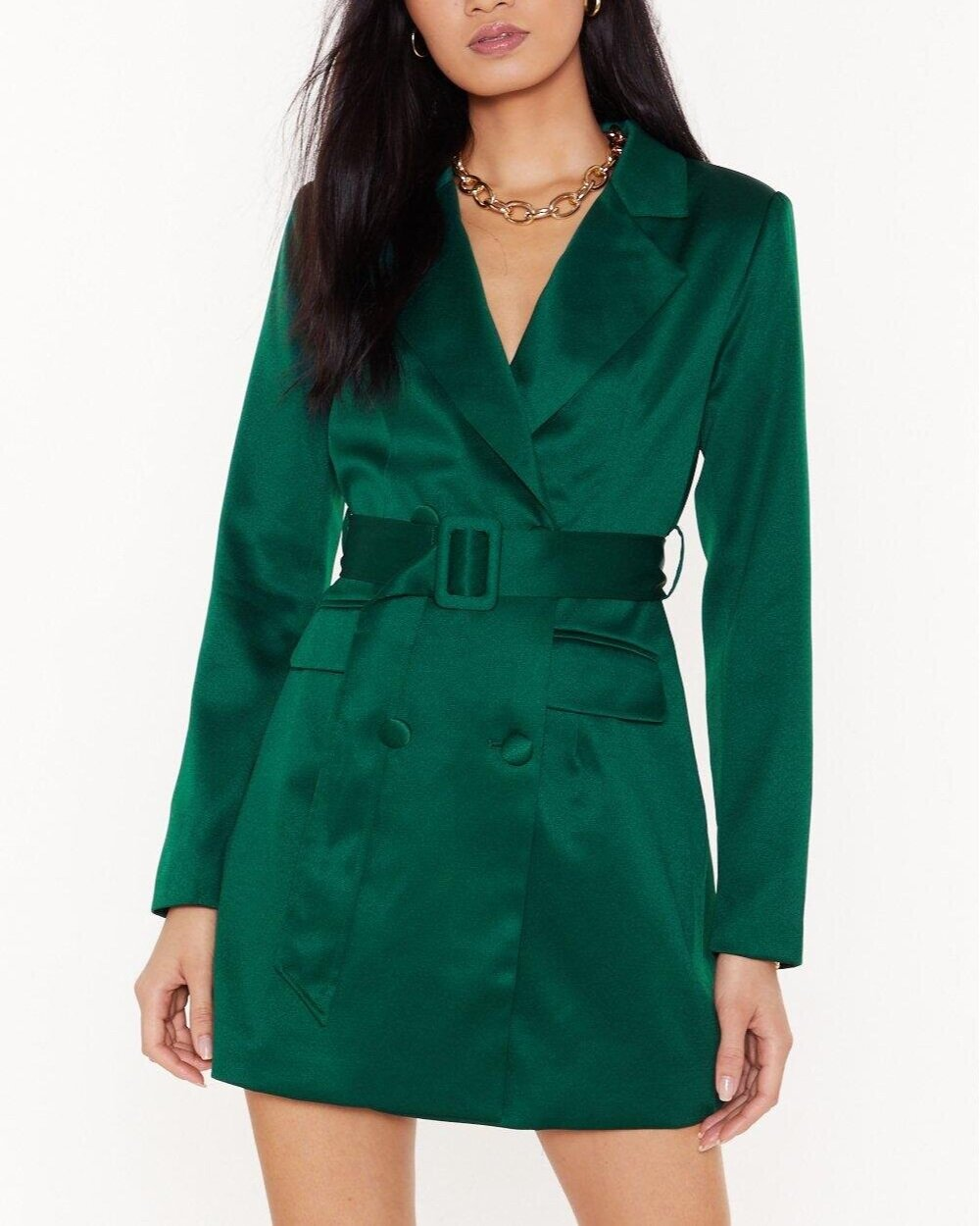 Nasty Gal Taking Care of Business Satin Blazer Dress  US$90 (~HK$706)