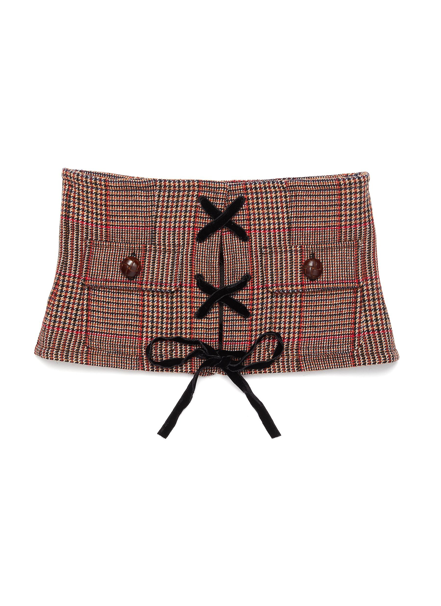 Miu Miu Lace-up Front Houndstooth Check Plaid Bustier  HKD$5,600