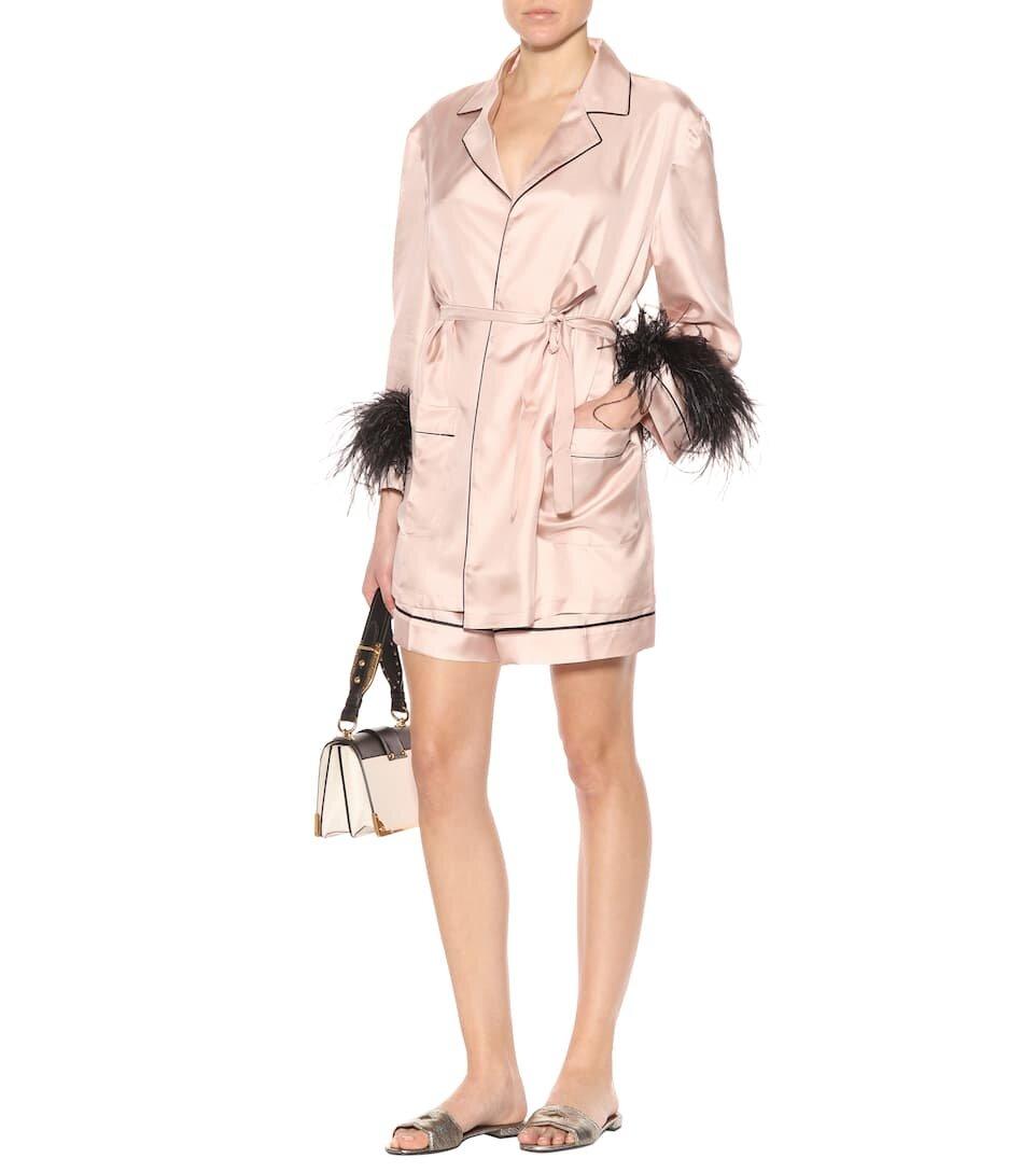 △ Prada Feather Trimmed Silk Shirt  HK$8,830
