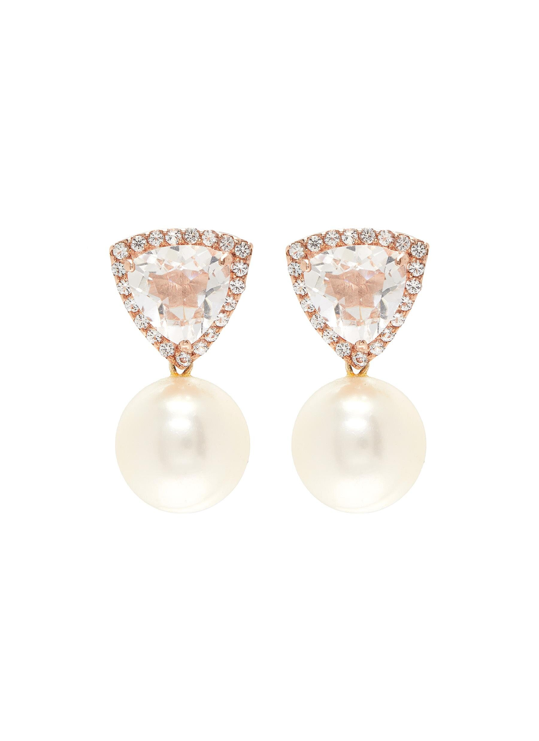 Butler & Wilson White Topaz And Drop Pearl Earrings  HKD$2,890