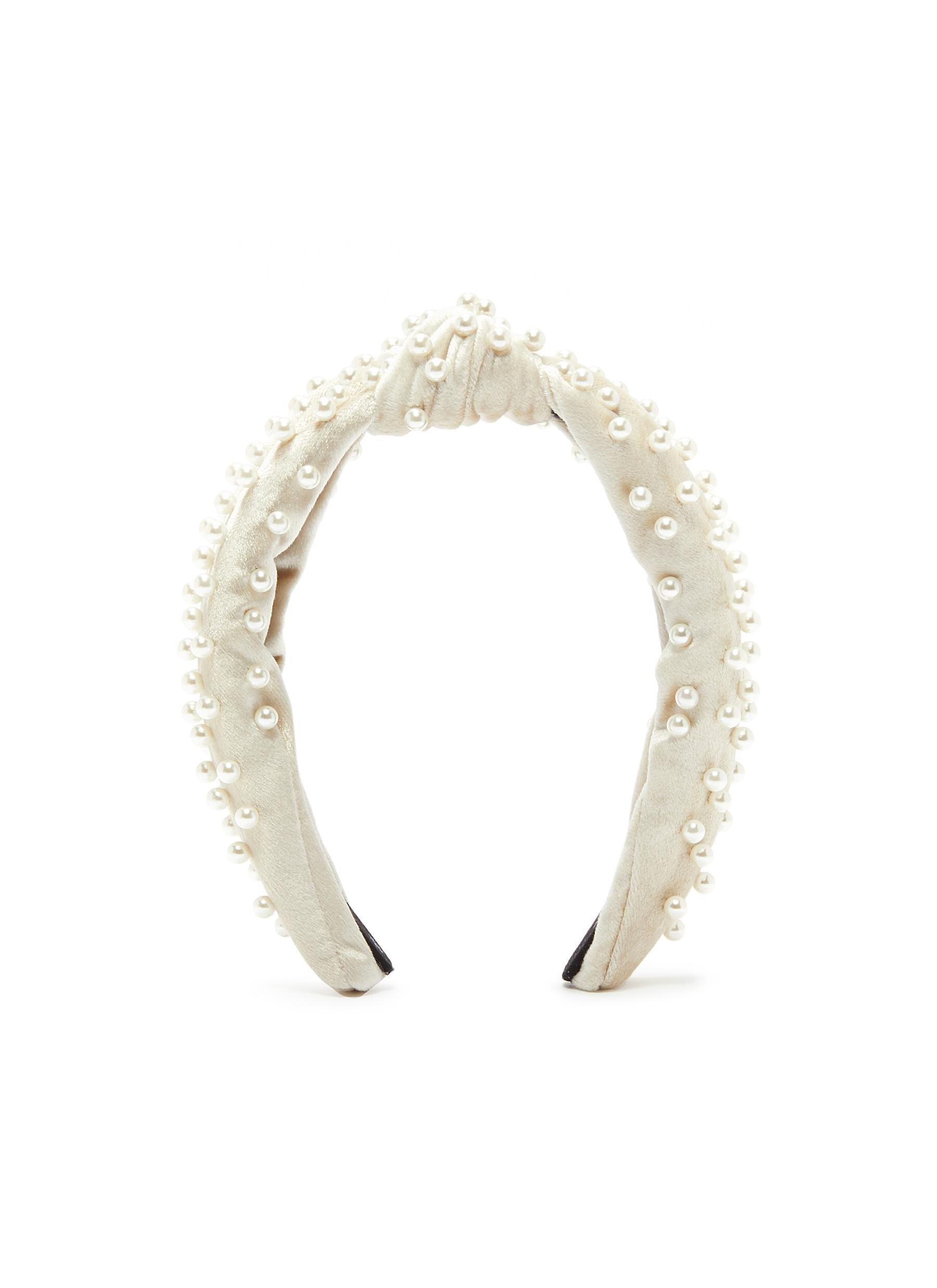 Lele Sadoughi Faux 'pearl Embellished Velvet Knotted Headband  HKD$1,350