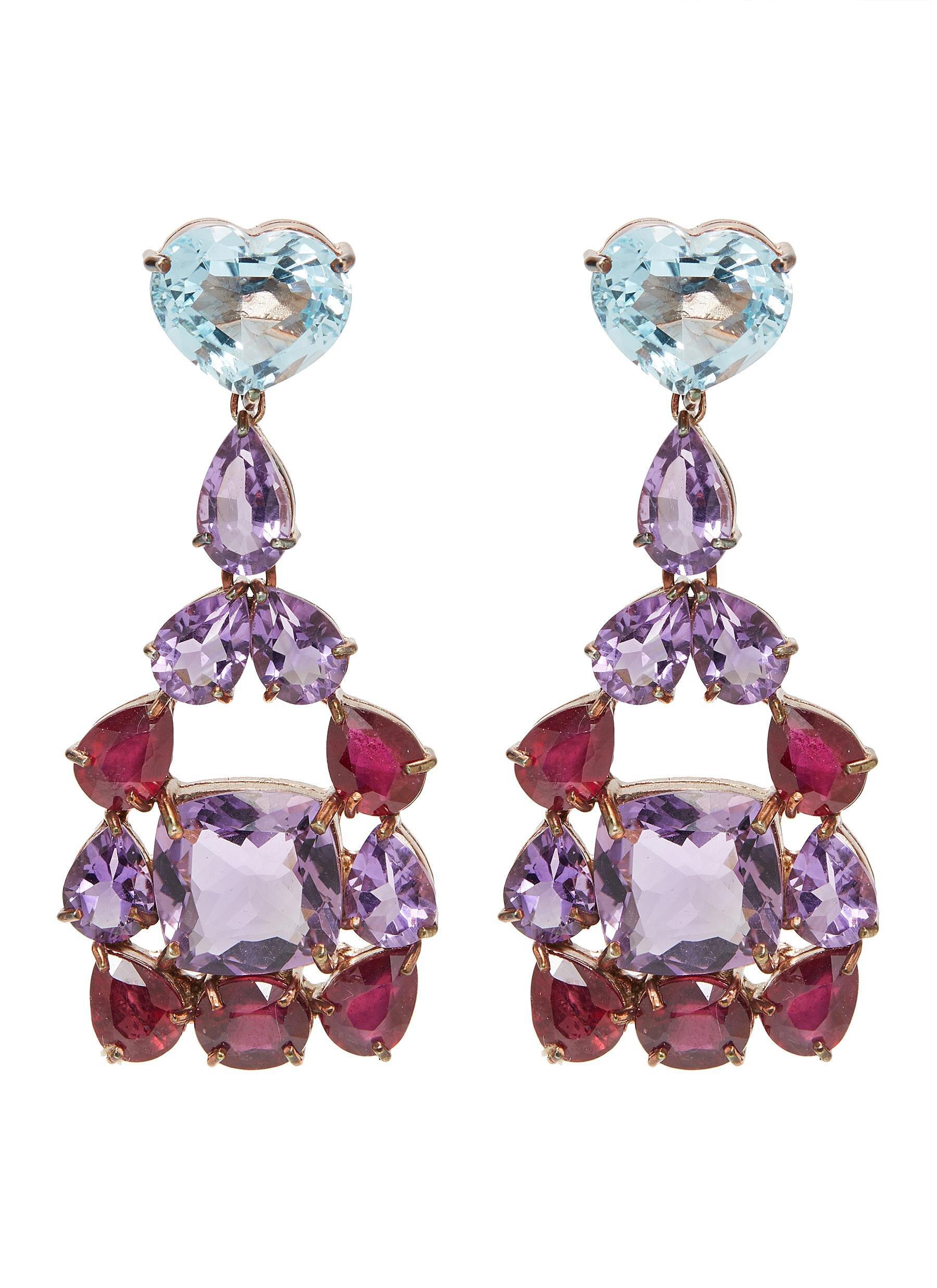 Butler & Wilson 'heart' Ruby Topaz Amethyst Drop Earrings  HKD$7,690