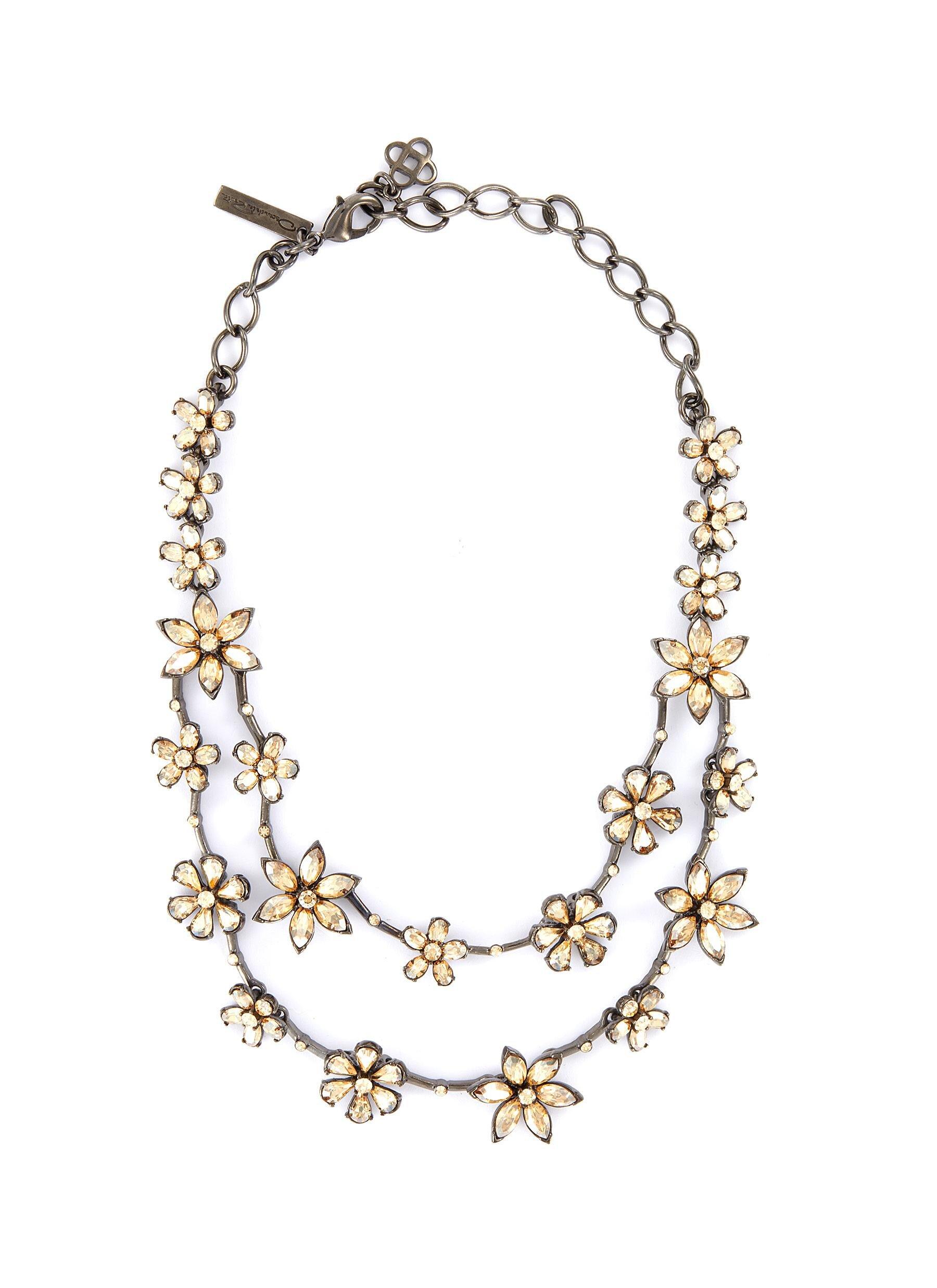 Oscar De La Renta Crystal Star' Swarovski Crystal Flower Double Layer Necklace  HKD$9,890