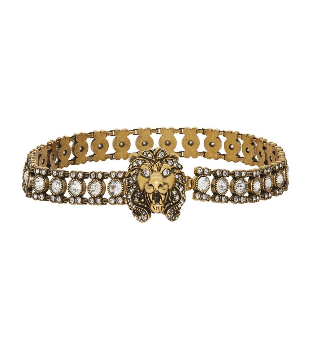 Gucci Gold Crystal Lion Head Choker  HKD$11,350