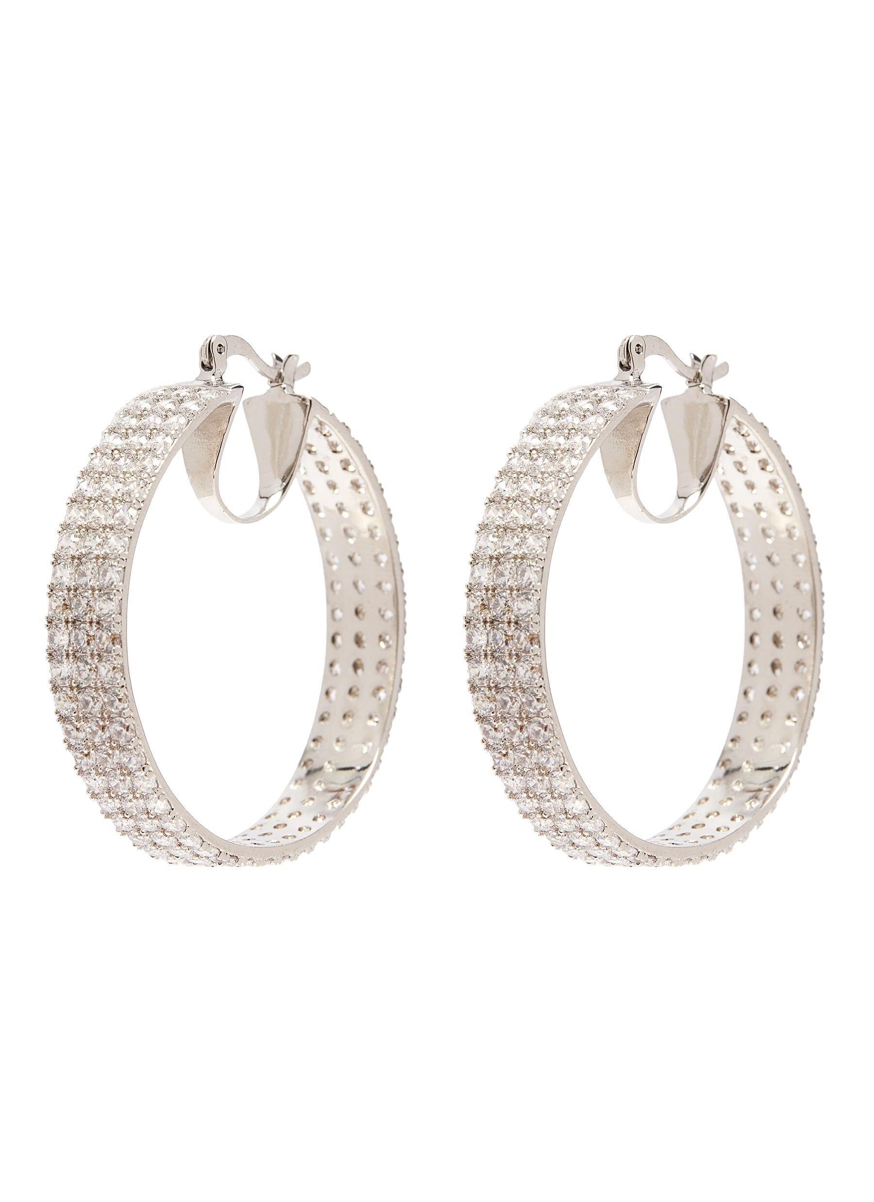 Cz By Kenneth Jay Lane 'triple Round' Zirconia Hoop Earrings  HKD$2,890