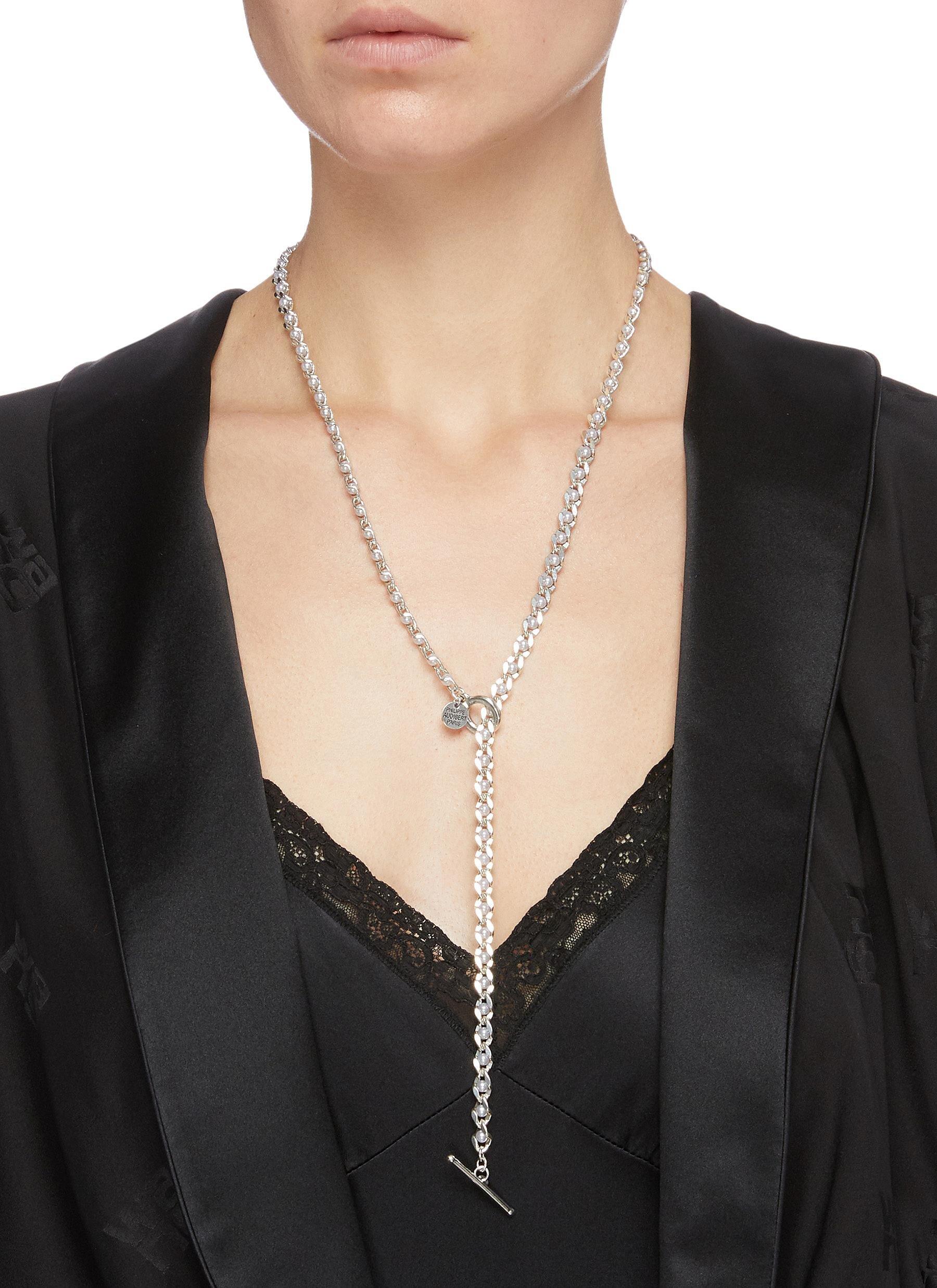 Philippe Audibert 'jayde' Faux Pearl Chain Lariat Necklace  HKD$1,390