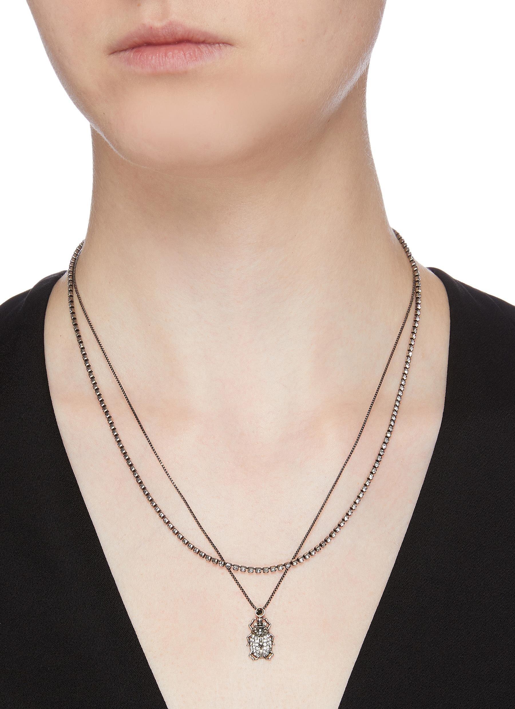Alexander Mcqueen Swarovski Crystal Pavé Beetle Double Chain Necklace  HKD$4,000