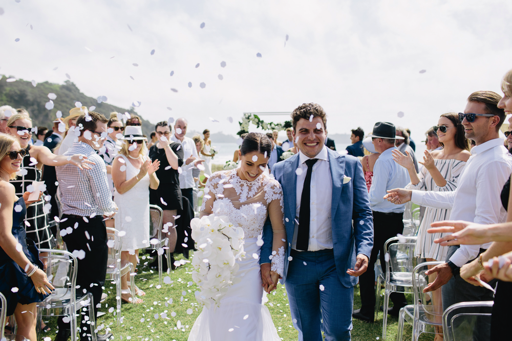 nice day for a white wedding. - all about that easy elegance, overlooking the crisp ocean in auckland, new zealand,pie melon bay, waiheke, photography, benjamin & elise, dress, jane yeh, furniture and marquee, raj tents, planner, alannah the planner