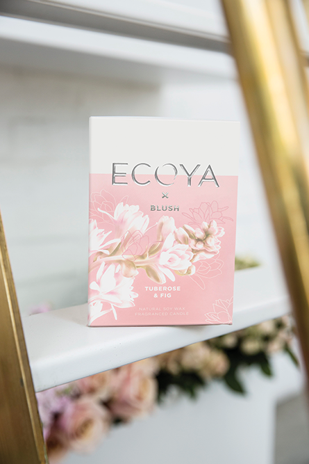 ECOYA, feat. a touch of blush. TUBEROSE & FIG… - our first brand collaboration w/ ECOYA. A heavenly white floriental boasting fresh green top notes and a heart of tuberose, jasmine and ylang. a base of new zealand cedarwood and fragrant fig leaves rounds out this sultry and feminine fragrance.