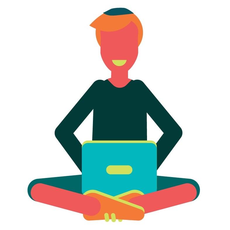 cartoon woman using laptop