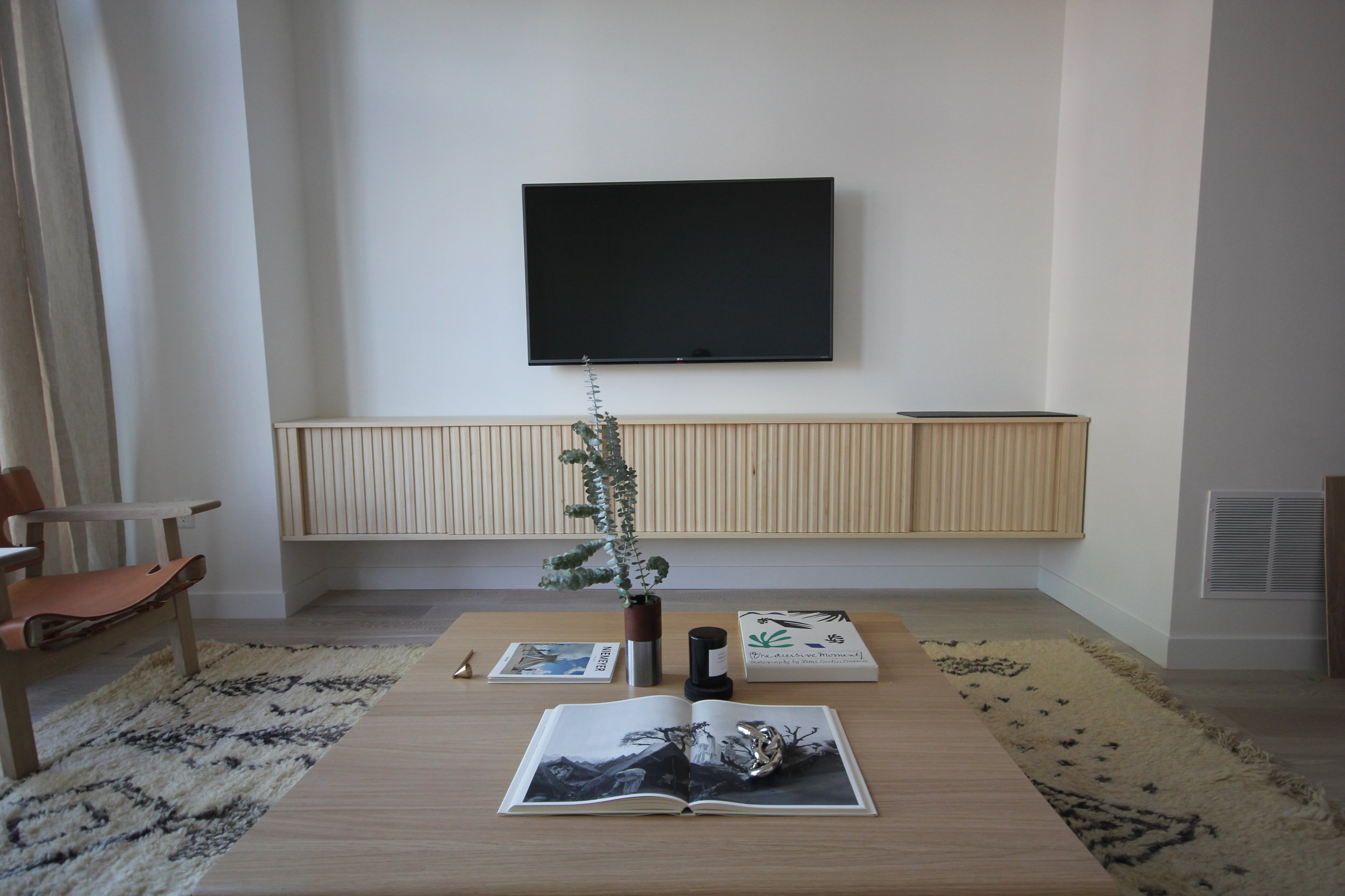 Sitting room-Credenza in Baltic Birch with Slate in lay.