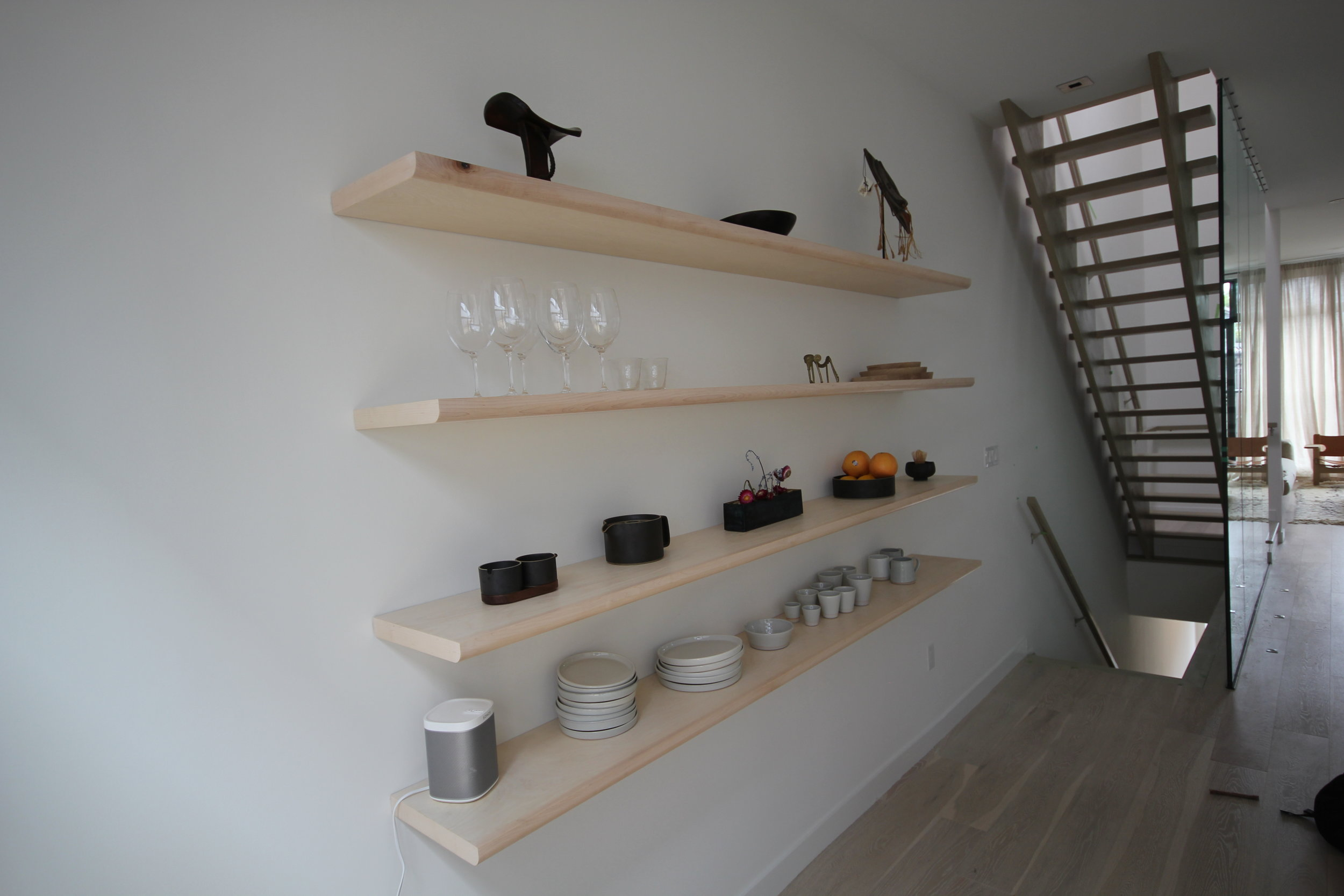 Kitchen-8' Baltic Birch floating shelves.