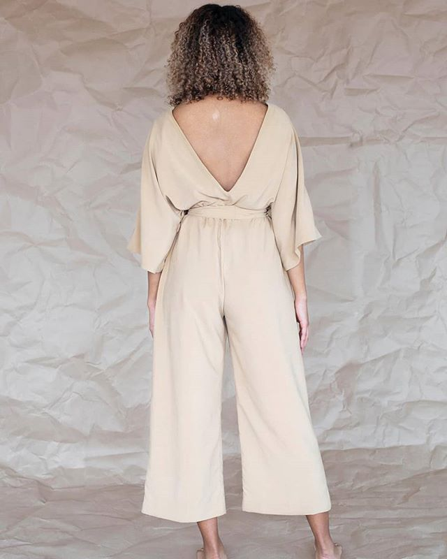 We love the deep cut back of this beautiful sand colored jumpsuit.  Photo:@fredrika.eriksson Model: @rebeccatesfa  #jumpsuit #collection #design #modedesign #desert #sand #beige #vcut #backless #kimono #cut #model #modedesign #fashion #style #slowfashion