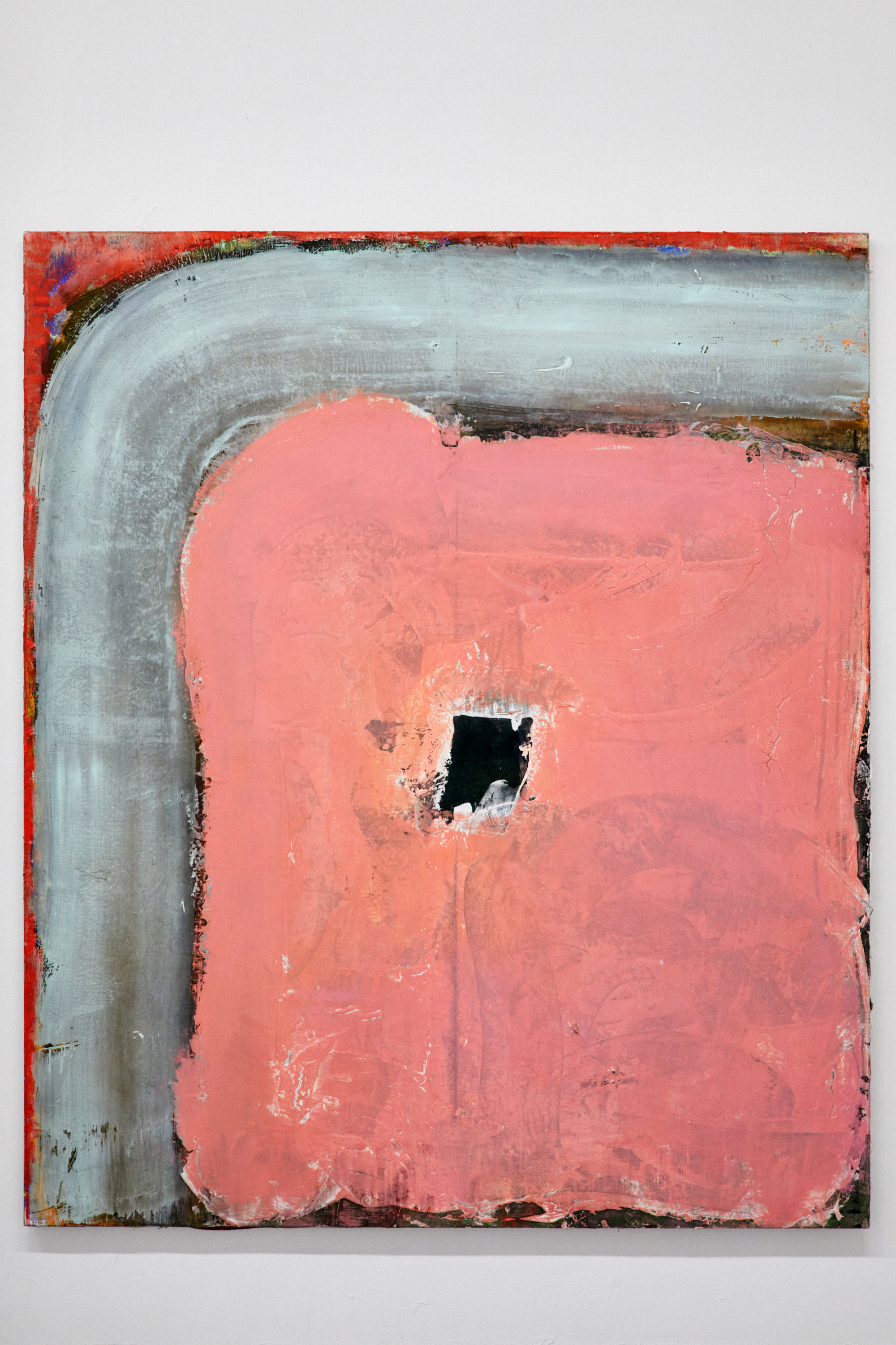 """Pink window""  200x170cm or 79x67 inches  Mixed paints on linen  2018"