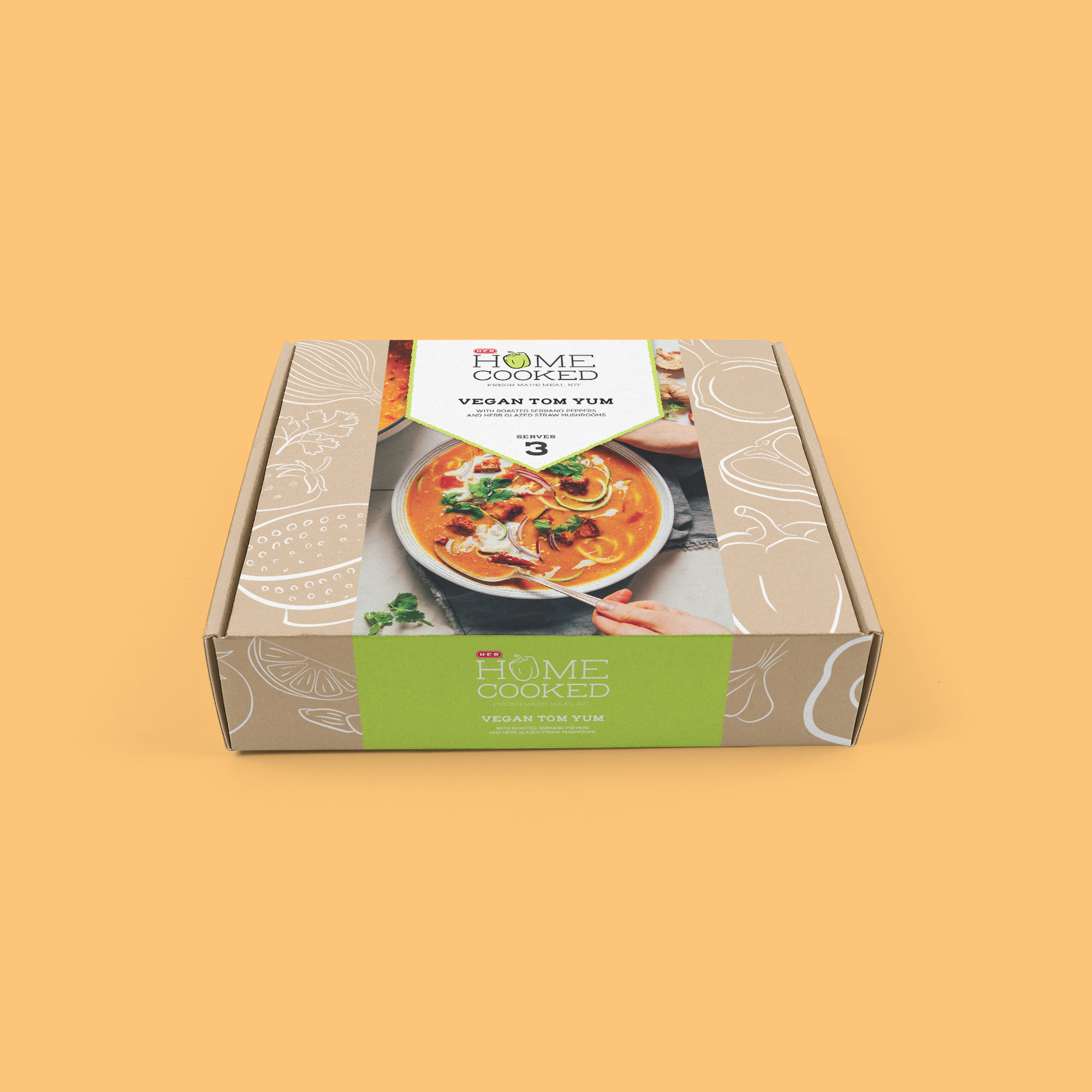The package for larger sized meals, serving 3 or more servings.