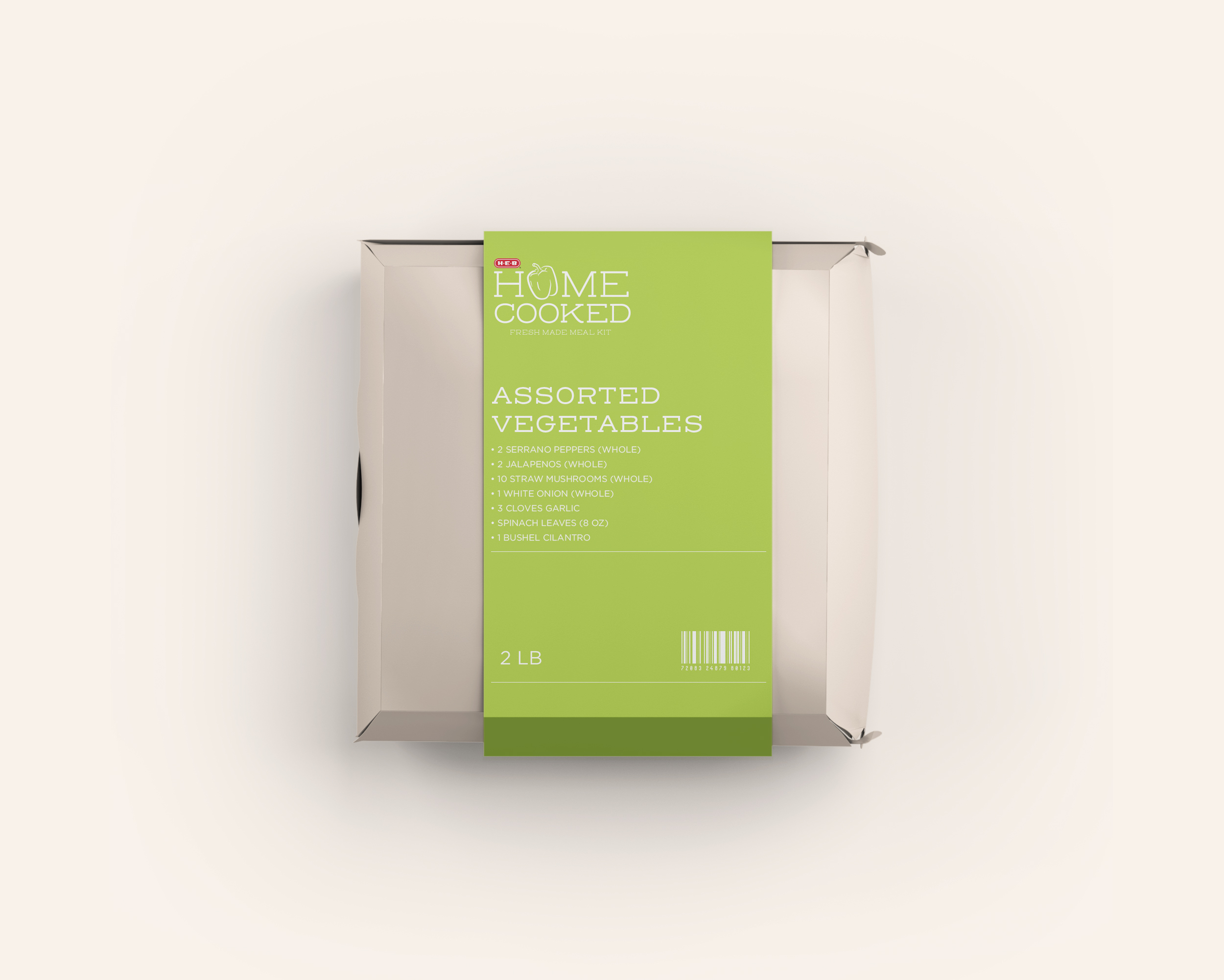 Vegetables would be packaged together in this smaller box, to reduce the use of plastic and also condense the form factor of the box.