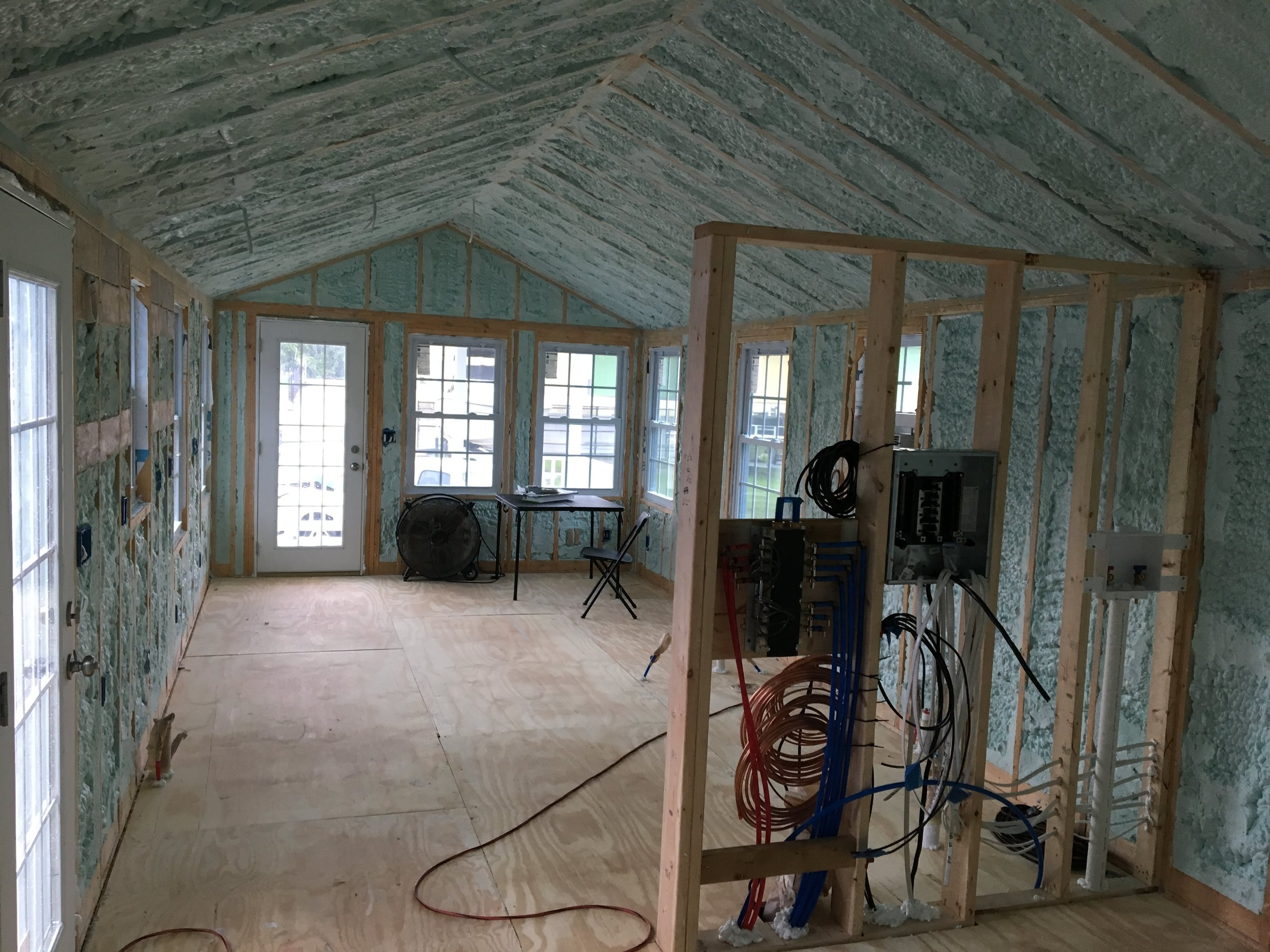 A shell, completely closed-cell spray foam insulated, awaiting the finish work that sets us apart from the competition.