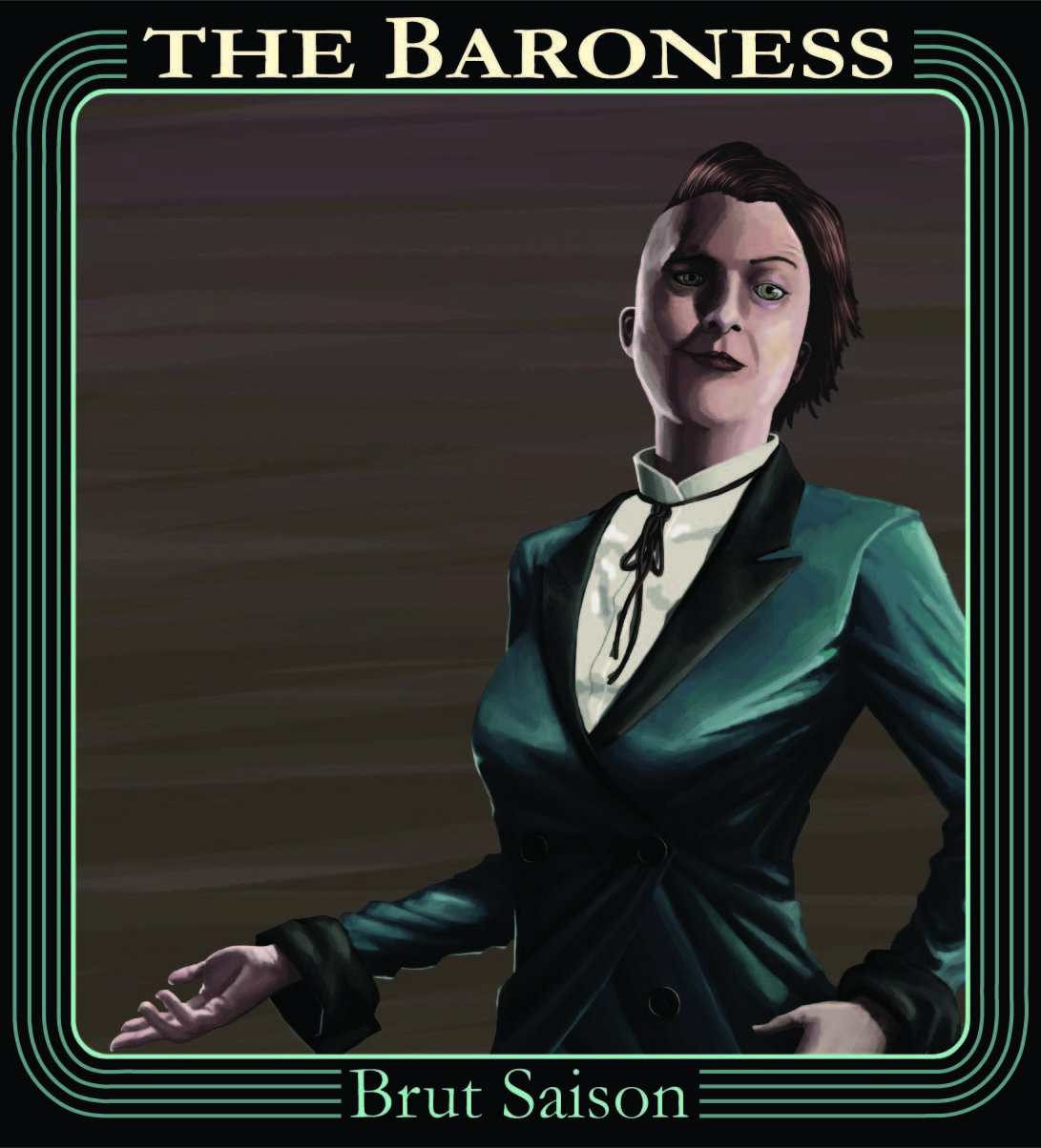 BRUT SAISON - The Baroness is a tart, dry, effervescent, tribute to our favorite sorceress, Collete Dubois. It features flavors and aromas of elderflower, apricot, and zesty citrus. 5% alc/vol.