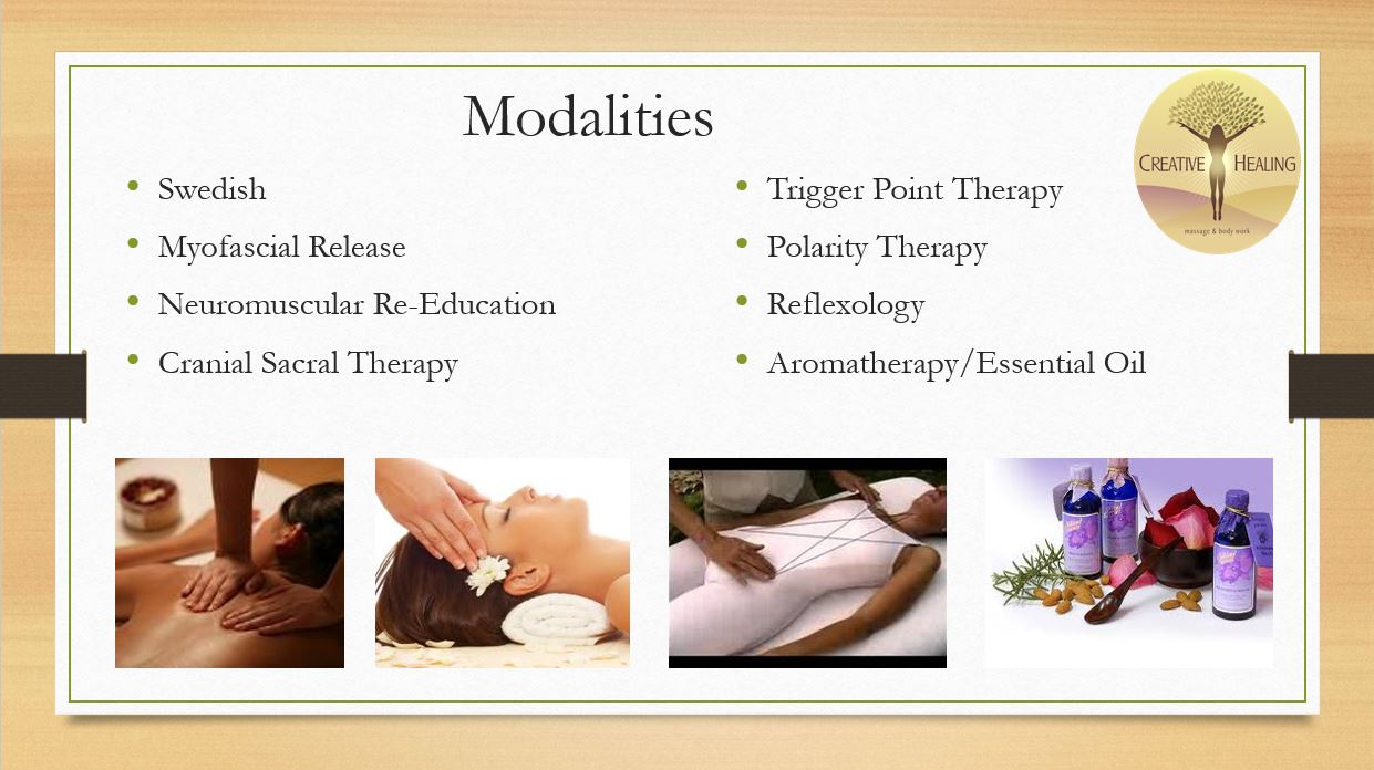 Types of Massage - Massage therapy can help address your pain and provide immediate relief. It features many benefits including: improved range of motion, decreased stress, improved LYMPHATIC flow and decreased muscle tension.We offer a variety of therapeutic massage types