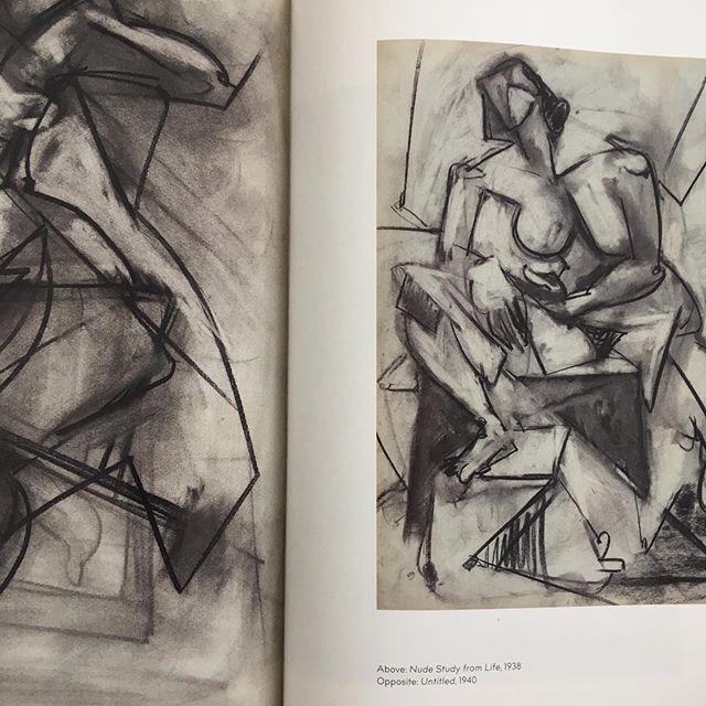 Lee Krasner.  Untitled, 1940.  Nude Study from life, 1938. . . . . #leekrasner #barbican #barbicancentre #artbook #cubism #hanshoffman #thameshudson