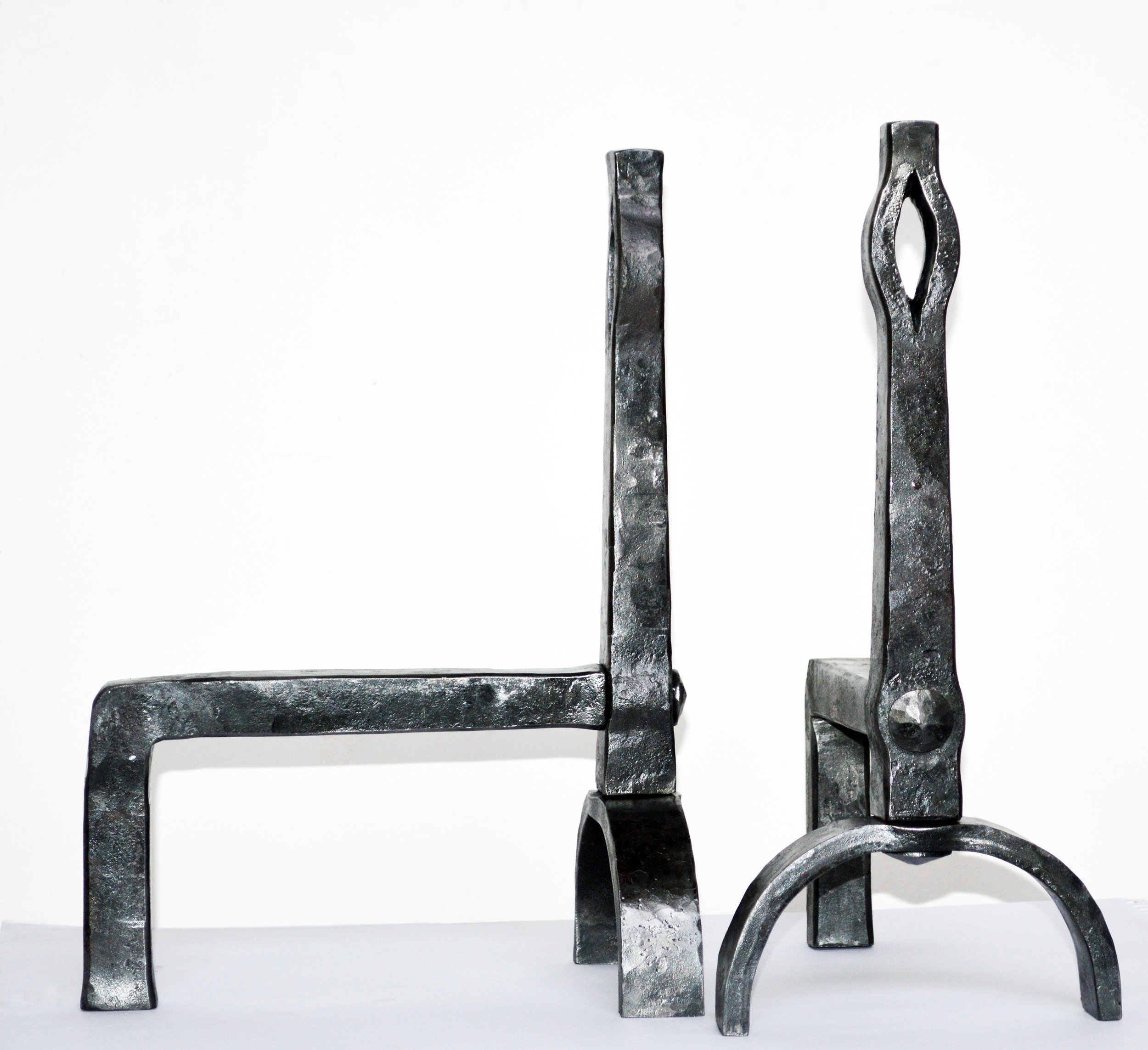 Andirons for a Rumford Fireplace