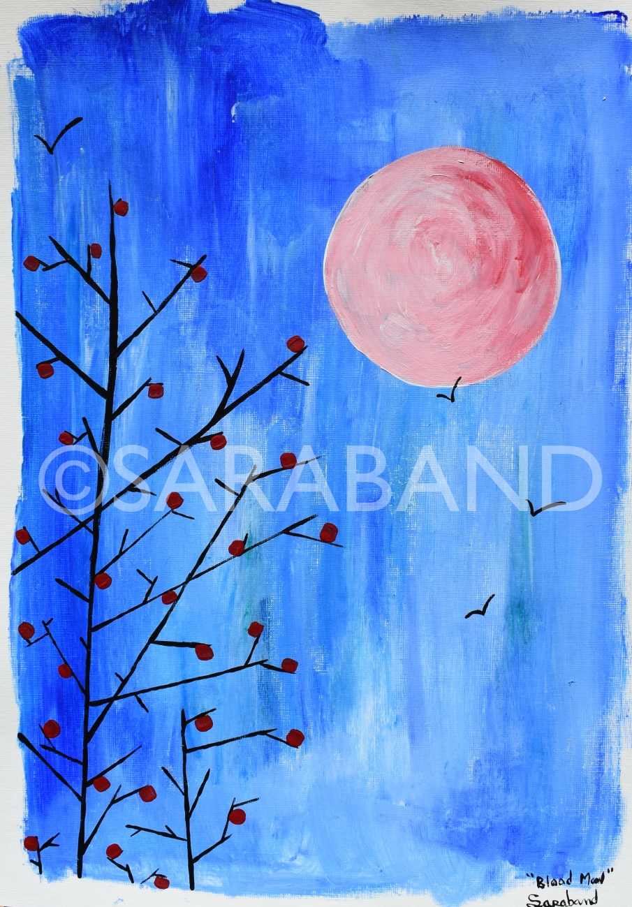 """BLOOD MOON"" - 42x29cm, acrylic on paper - £180  (SOLD)"