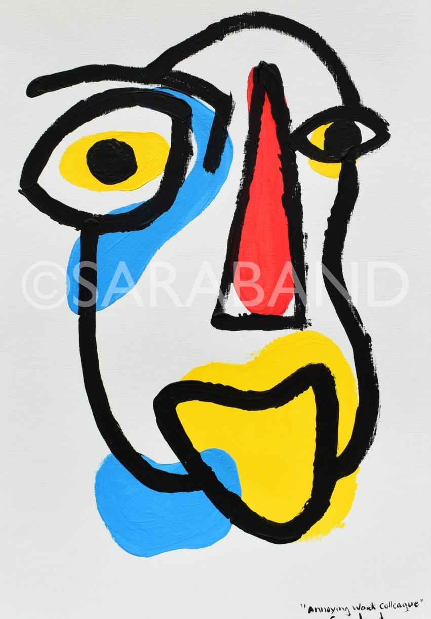"""ANNOYING WORK COLLEAGUE"" - 42x29cm, acrylic on paper - £180"