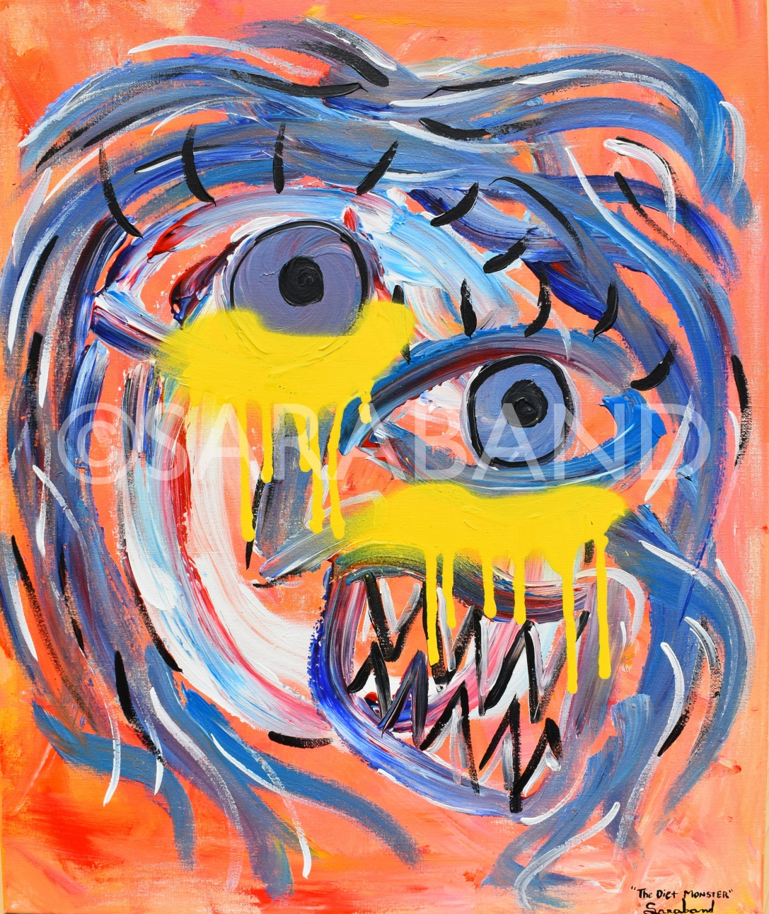 """THE DIET MONSTER"" - 60x50cm, acrylic on canvas - £500"