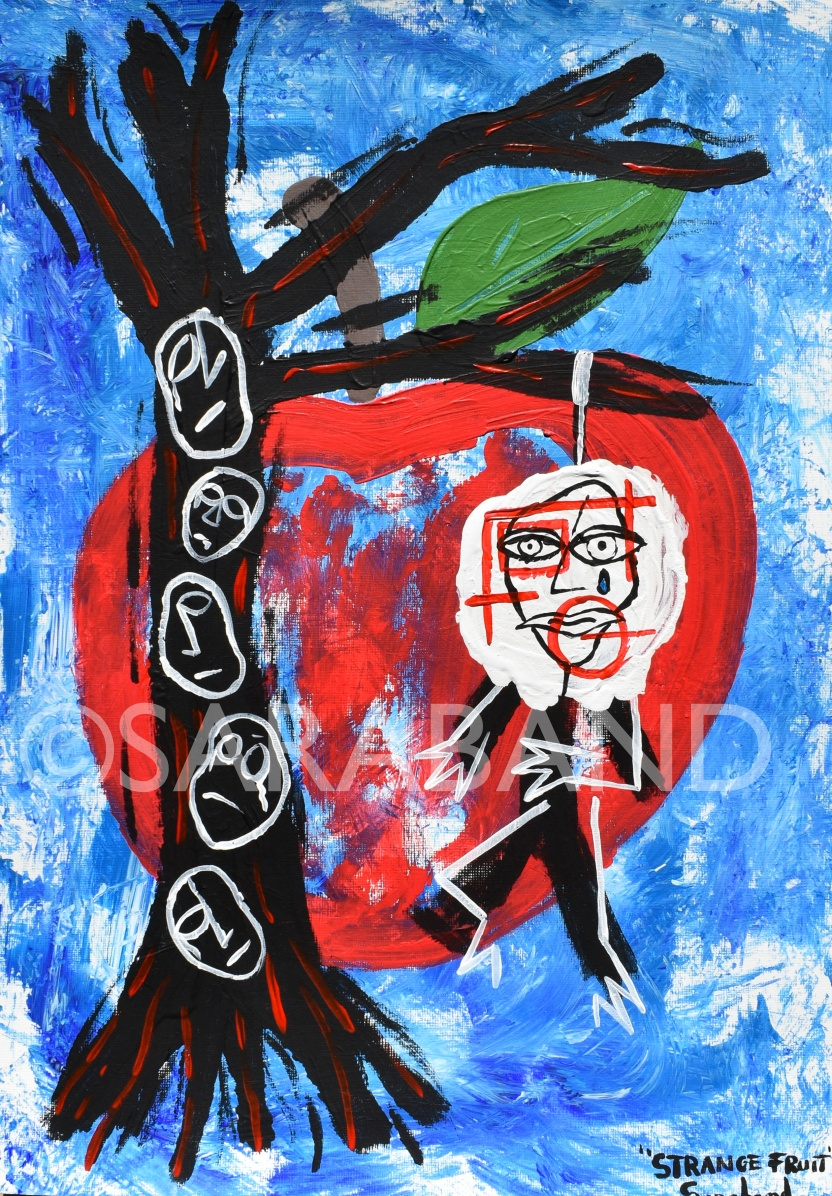 """STRANGE FRUIT"" - 42x29cm, acrylic on paper - £200"