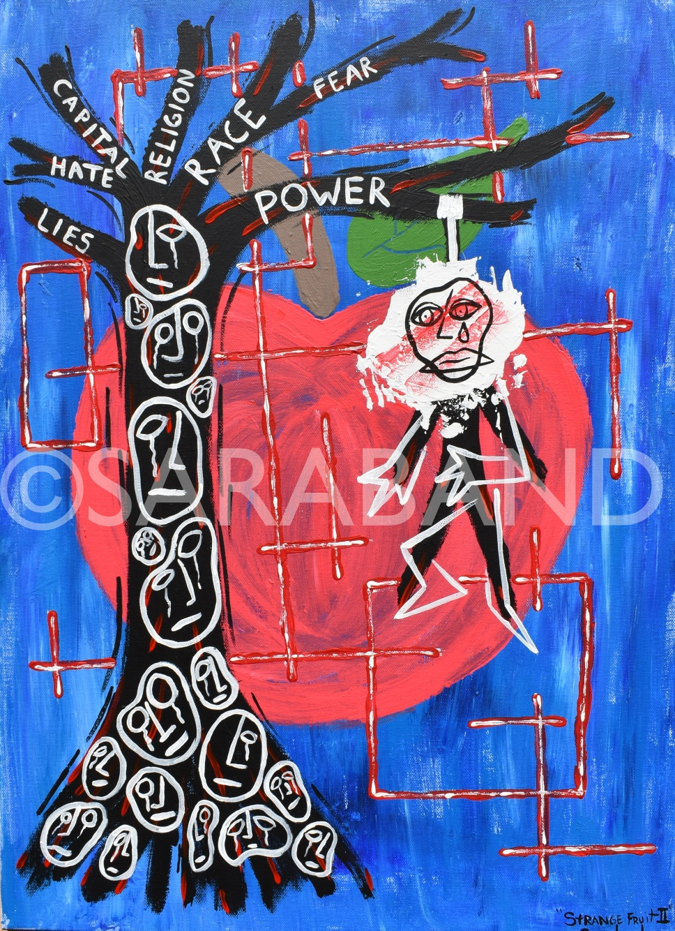 """STRANGE FRUIT II"" - 70x50cm, acrylic on canvas - £700  (PRINT AVAILABLE)"