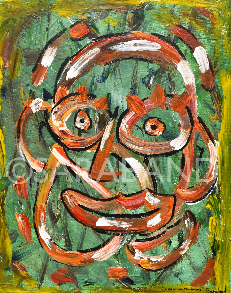 """A FACE IN THE BUSHES"" - 50x40cm, acrylic on canvas - £290"