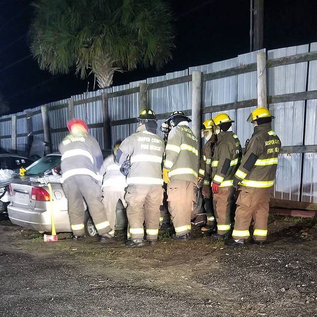 Volunteer Training night at A-1 Towing. Firefighters were learning extrication techniques and demoing a set of extraction tools. Want to know more? Stop by a station or email us at FDinfo@jaspercountysc.gov