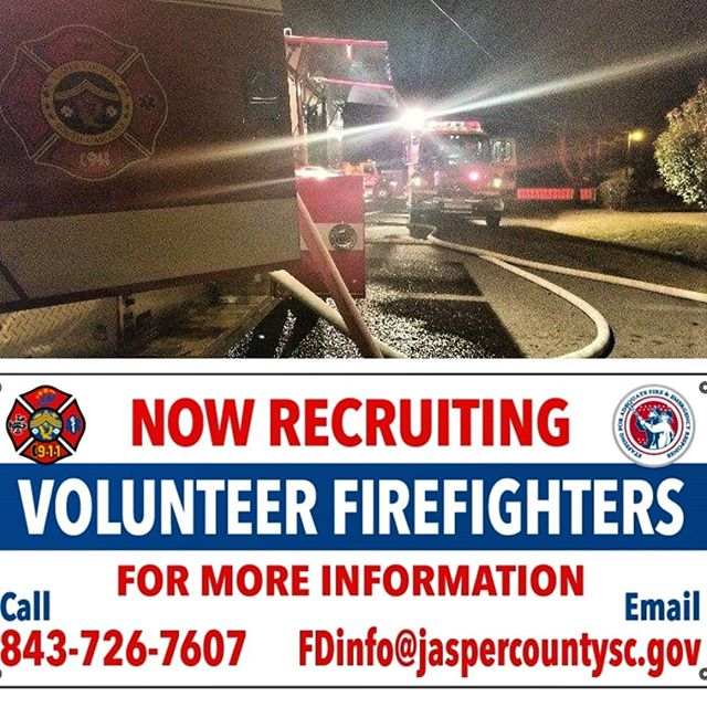 If you ready to serve your community in ways that few can, you have just about everything you need to get started. Call us at 843-726-7607 or email us at FDinfo@jaspercountysc.gov