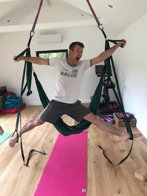 And, also it's really fun! I love that when I teach aerial yoga people smile, play and feel energised. - (this is my husband playing around - there is no expectations you will do this in your first aerial lesson!!)